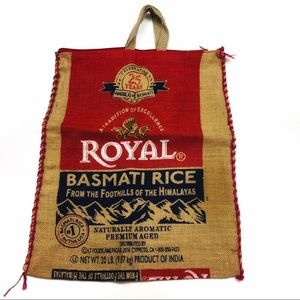 Royal Basmati Rice Burlap Zipper Top Tote Bag